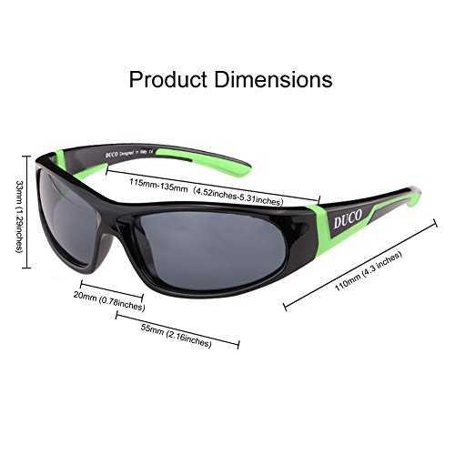 DUCO Kids sport stile polarizzato occhiali da sole in gomma telaio flessibile per ragazzi e ragazze - 3