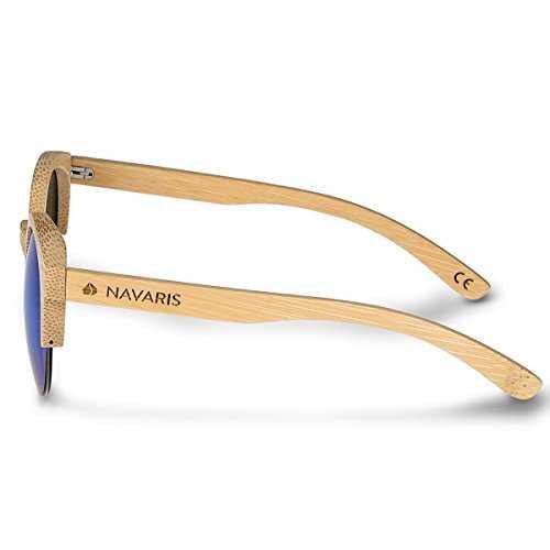 Navaris occhiali da sole in legno filtro UV400 - occhiali polarizzati con montatura in bambù unisex uomo donna occhiale retro - diversi colori - 2