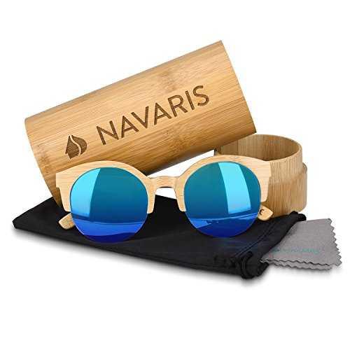 Navaris occhiali da sole in legno filtro UV400 - occhiali polarizzati con montatura in bambù unisex uomo donna occhiale retro - diversi colori - 4