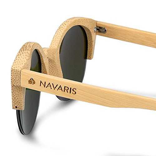 Navaris occhiali da sole in legno filtro UV400 - occhiali polarizzati con montatura in bambù unisex uomo donna occhiale retro - diversi colori - 3