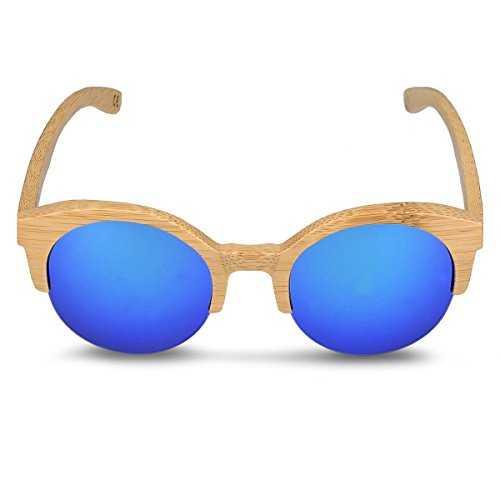 Navaris occhiali da sole in legno filtro UV400 - occhiali polarizzati con montatura in bambù unisex uomo donna occhiale retro - diversi colori - 5