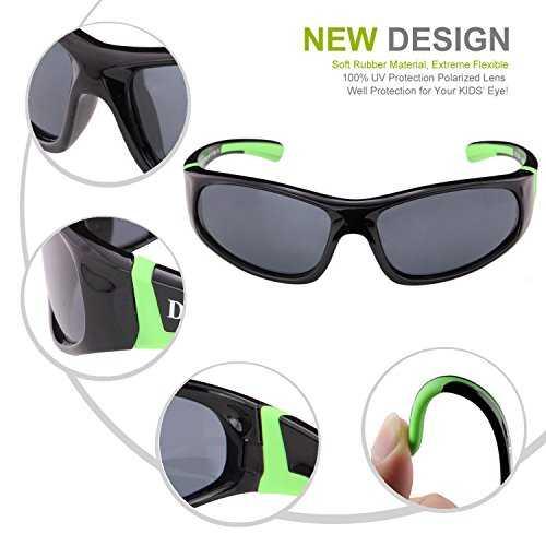 DUCO Kids sport stile polarizzato occhiali da sole in gomma telaio flessibile per ragazzi e ragazze - 5