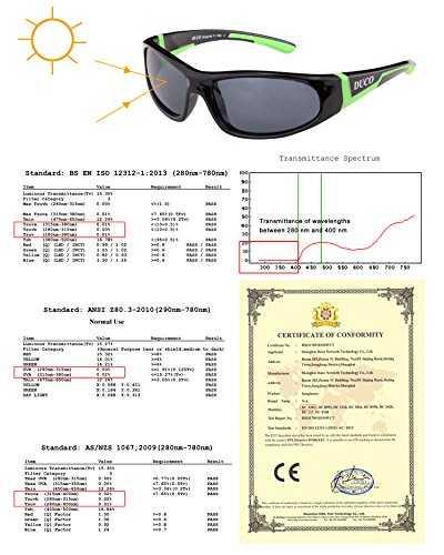 DUCO Kids sport stile polarizzato occhiali da sole in gomma telaio flessibile per ragazzi e ragazze - 6