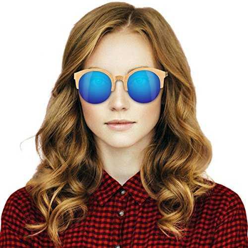 Navaris occhiali da sole in legno filtro UV400 - occhiali polarizzati con montatura in bambù unisex uomo donna occhiale retro - diversi colori - 6