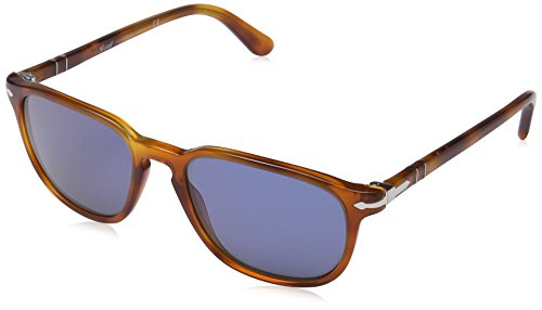 Persol Vintage Celebration Occhiali da Sole, Marrone (Light Havana/Crystal Blue), 55 Unisex-Adulto - 1