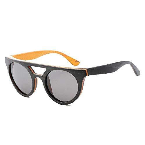 Occhiali da Sole Vintage da Uomo con Montatura in Legno polarizzati lenti Grigio Blu Uv400 - 1