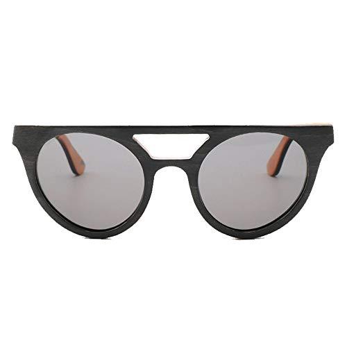 Occhiali da Sole Vintage da Uomo con Montatura in Legno polarizzati lenti Grigio Blu Uv400 - 3