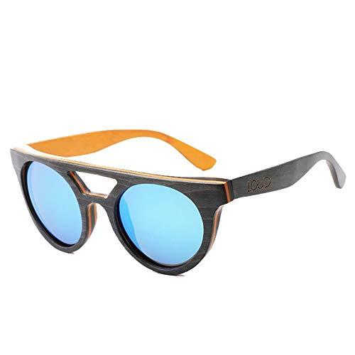 Occhiali da Sole Vintage da Uomo con Montatura in Legno polarizzati lenti Grigio Blu Uv400 - 2
