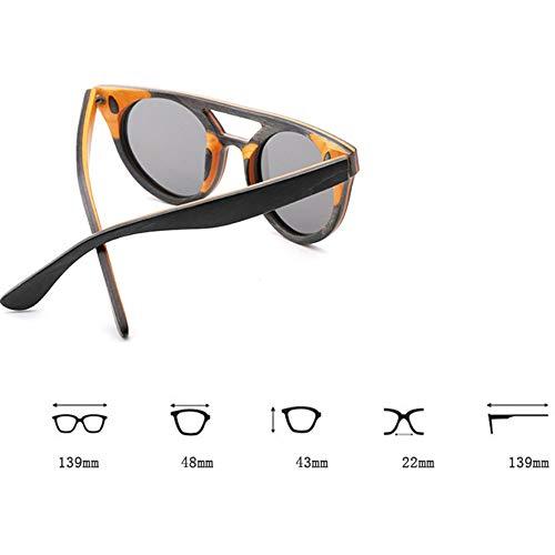 Occhiali da Sole Vintage da Uomo con Montatura in Legno polarizzati lenti Grigio Blu Uv400 - 6