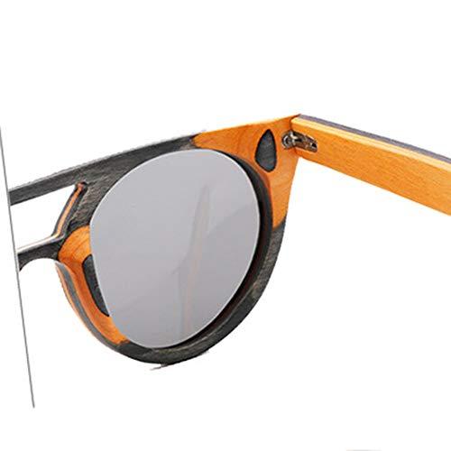 Occhiali da Sole Vintage da Uomo con Montatura in Legno polarizzati lenti Grigio Blu Uv400 - 5
