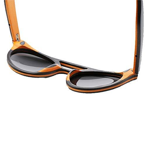 Occhiali da Sole Vintage da Uomo con Montatura in Legno polarizzati lenti Grigio Blu Uv400 - 4